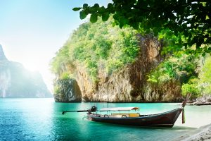 Blue Water and Mountain Boat Nature Thailand