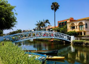 Bridge, palm trees, home, boats, CA, channel, USA
