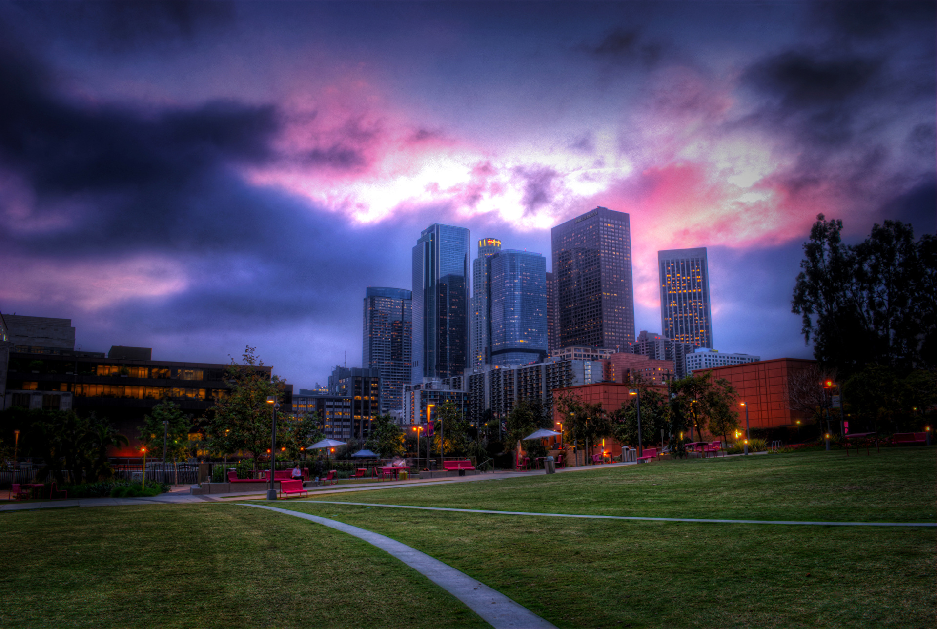 Los Angeles USA HDR Sky Lawn Cities Building Wallpaper 1920x1289 px