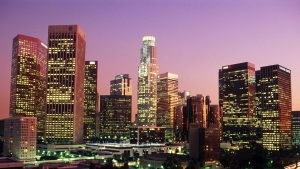 Los Angeles California Skyscrapers at Sunset