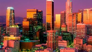 Los Angeles City Buildings Sunset
