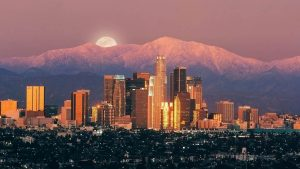 Los Angeles City View Moon At Night Background