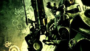 Fallout, Simple Background, Power Armor, Sniper Rifle, Human Representation