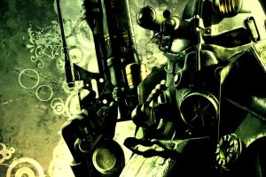 Fallout, Simple Background, Power Armor, Sniper Rifle, Human Representation,