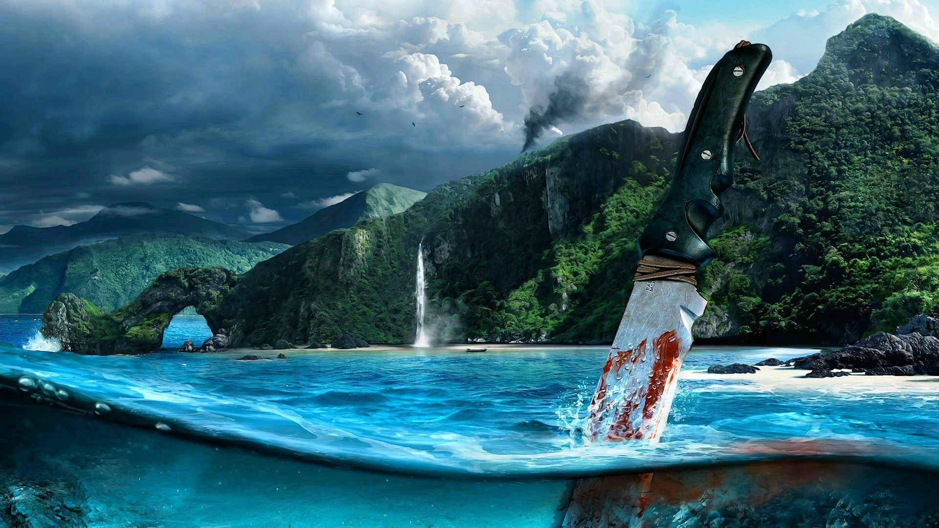 Far Cry 3 Knife In Water Wallpaper 1920x1080 px