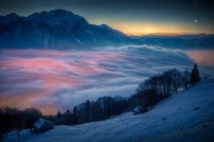 Mountain Moon Venus Switzerland Clouds Winter